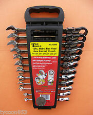 Price reduction !! RATCHET SPANNERS SET 12pc FLEX HEAD METRIC T&E TOOLS DALLAS