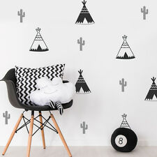 18 X tipi Teepee Tenda Cactus Kids Adesivo Parete Camera Da Letto Vivaio Wall Art Decalcomania