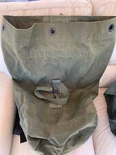 US Military Canvas Duffle Bag Od Green  One Shoulder Strap Ww2/Vietnam War Era?