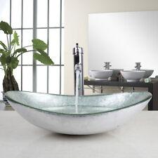 CounterTop Washroom Vessel Sink Tempered Glass Washbasin Chrome Mixer Faucet Set