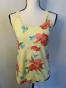 Hollister Yellow Tank Top S Lace Floral Summer Racerback Sleeveless Stretch