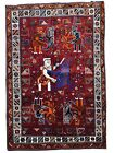 One of A Kind Authentic Qashqai Ancient Des Pictorial Tribal Oriental AreRug 4x6