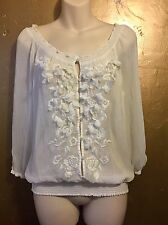Abercrombie And Fitch Pretty Delicate White Semi Sheer Blouse, S.M Approx10/12