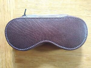 Genuine leather brown spectacle case - spectacle-shaped with zip closure