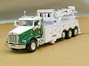 Dcp Custom white/green O'Hare KW T800 daycab tri axle rotator wrecker 1/64