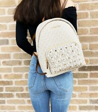 Michael Kors Erin Medium Studded Abbey Backpack PVC Vanilla MK Signature