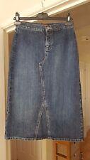 Super Per Una Blue Denim Straight Skirt, Cotton Blend, Size 8, VGC