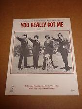 """Kinks """"You Really Got Me"""" US MINT sheet music"""