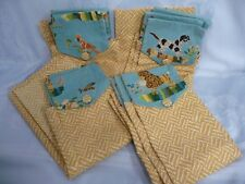VINTAGE 1950's BARK CLOTH CURTAINS, 4 PANELS w/DOGS, BIRDS, SHEEP, BUTTERFLIES +