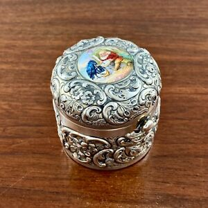 DURGIN REPOUSSE STERLING SILVER & HAND PAINTED ENAMEL POP UP TRAVELING INKWELL