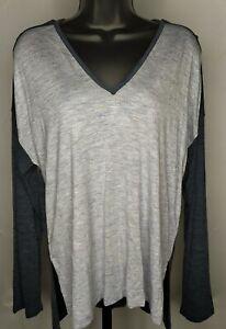 Madewell Women's Anthem Long-sleeve V-neck Tunic Tee Colorblock Gray - M
