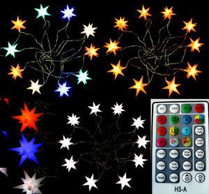 10er Sternenkette Farben per Fernbedienung innen & außen Stern Kette Außenstern