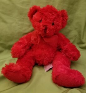 Russ Berrie Adorable Scarlet Plush Bear Red Bow Stuffed Animal Toy Super Soft