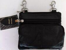 Biker Hip Clip Waist Black Leather Purse belt loop Hands-free Travel Bag Black
