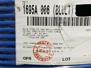 Belden 1695A Video Brilliance HD-SDI RG6 Coaxial Cable 6GHz Plenum Blue /50ft