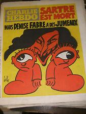 Charlie Hebdo N°493 23/4/1980 Caricature Cavanna Wolinski Cabu Charb Mort Sartre