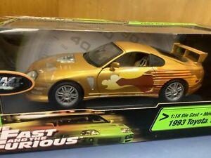 2 Fast And 2 Furious  toyota supra gold 1/18 slap Jack's car racing champions