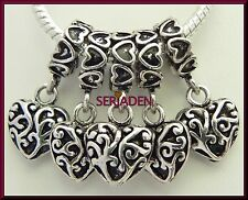 5 Dangling Heart Detailed Charms fits European Jewelry 11 * 25 & 5 mm Hole  S092