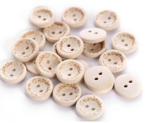 Wood HANDMADE WITH LOVE Natural Wooden Round Buttons - 2 Holes 15mm 1.5cm