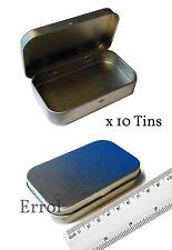 10 x Empty Tins. 30ml Small Plain Metal. Hinged Lid  81mm x 53mm x 16mm