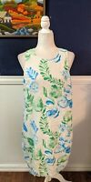 Tommy Bahama Tropical White Hawaiian Sleeveless Dress Linen Blend XL Extra Large