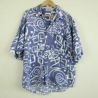 WEAR FADED DISTRESSED WORN Vintage 90s Guess Camp Shirt Hawaiian Surf Skate L