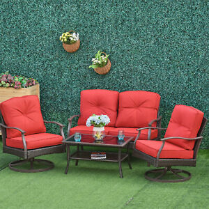 Outsunny 4 PCS Patio Wicker Sofa Set Conversation Furniture Tea Table w/ Cushion