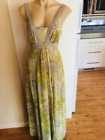 Ladies JESSICA SIMPSON Dress Green & Grey Floral Size 10 Long Maxi Floaty