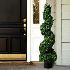 50 in Boxwood Spiral Topiary Artificial Tree Realistic Plant Home Outdoor Decor