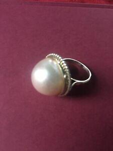 Estate 925 sterling silver & 22 mm huge Mabé pearl ring