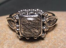Sterling silver everyday tourmalated/tourmalinated quartz ring UK K¾-L/US 5.75-6