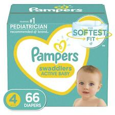 Pampers Swaddlers Disposable Diapers Size 4, 22-37 lb, 66 Count Active Baby