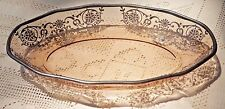 VINTAGE EARLY TO MID-20th CENTURY STERLING SILVER OVERLAY AMBER GLASS DISH