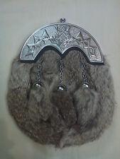 Mens Scottish Kilt Sporran Grey Rabbit Fur Thistle Knot Work Cantle/Kilt Sporran