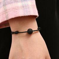 Fashion Black Lava Stone Rock Beads Essential Oil Diffuser Leather Bracelet