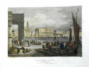 Doge's Palace Venice Italy Canals Ships Street Scene 1850 engraved print