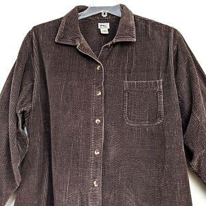 LL Bean Women's Brown Corduroy Button Up 100% Cotton Shirt Plus Size 3X