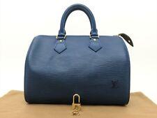 Louis Vuitton Authentic Epi Leather Blue speedy 25 Purse Hand Bag Auth LV