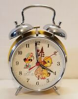 "Working Vintage Diamond Alarm Clock  Double Bells Animated Duck Shanghai 7"" Tall"