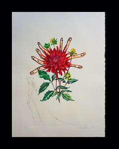 DALI Florals Dahlia Venus Hand Signed Numbered Etching Surreal ART