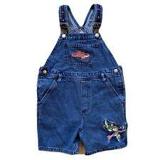 DISNEY BUZZ LIGHTYEAR Toy Story Boys Denim Embroidered Short Overalls Size 5-6