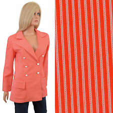 Vintage 70s BLAZER Red White Striped Polyester Womens Jacket M