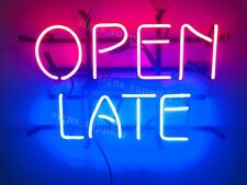 New Open Late Business Shop Neon Sign 14' Light Lamp Wall Decor Real Glass