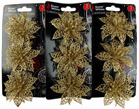 Set Of 9 Glitter Poinsettia Clip On Christmas Craft / Tree Decorations - GOLD