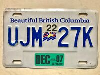 2007 BEAUTIFUL BRITISH COLUMBIA BC CANADA TRAILER  LICENSE PLATE  # UJM 27K