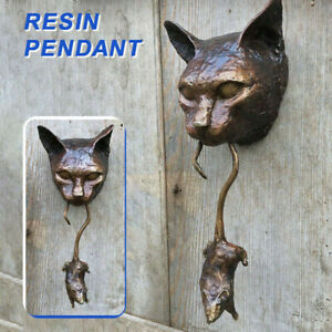 Cat and Mouse Door Knocker or Wall Ornament Rusty Brown Cast Iron Ornament Craft