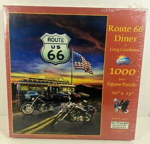 """Route 66 Diner by Greg Giordano 20"""" x 27"""" 1000 pc Jigsaw Puzzle ~ SunsOut 37122"""