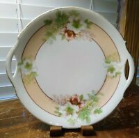 Vintage Two Handled Cake Plate P M Bavaria Germany With Flowers And Gold Trim