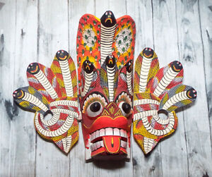 "Sri Lankan Handmade Wooden Beautiful Traditional Cobra Mask Art 8"" Wall Hanging"