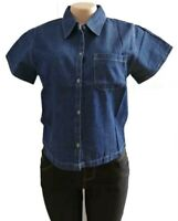 US Women Ladies Short Sleeve Denim Jeans T Shirt Blouse Tops